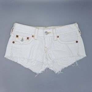 True Religion Joey Cut Off Jean Shorts Flap Pocket